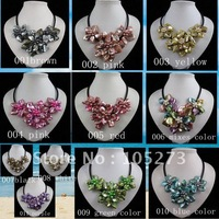 Wholesale Mixes color shell fresh water pearl necklace fashion flower necklace black rope 18inch 11pcs/lot free shipping  A1907
