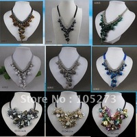 New beautiful mixes order jasper crystal pearl necklace made by hand length:18-19inch free shipping 9pcs/lot A1917a