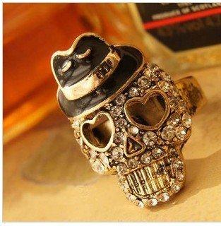 ## R146   Punk gothic Fashion Rings Skull Head skeleton For Cool/Band/Rock/Bar/Pub B1.2