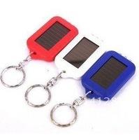 Free shipping Keychain Portable 3 LED Flashlight Solar Powered
