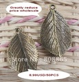 free shipping 50 pcs/lot,greatly reduced price wholesale lovely leaf charms antique bronze charms jewelry accessories