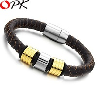 OPK JEWELRY STAINLESS STEEL BRACELET  Braided Leather bangle Christmas gift JEWELRY free shipping 694