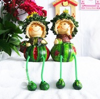 Free shipping wholesale and retail handcraft painted resin table ornament one pair of watermelon shape and long leg dolls