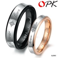 OPK JEWELRY Christmas Lover's gift stainless steel couple finger rings Wedding Bands retro style CZ diamond. 283
