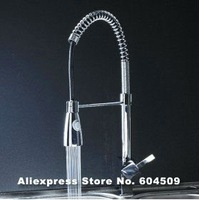 hot sell!! Free Shipping Chrome Finish Commercial Style Brass Spring Pull Down Kitchen Faucet,YKF0009