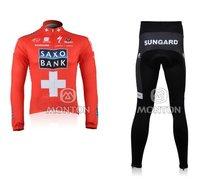 Free Shipping 2011 Saxo Bank red Long Sleeve Cycling Jersey And Pants/Cycling Wear/Cycling Clothing/Bike Jersey