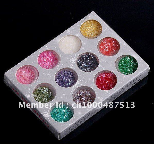 Freeshipping 12Colors Nail Art Decoration Sticker Shiny Glitter Powder & Chips Nail Accessories Nail Salon Sticker & Decal(China (Mainland))