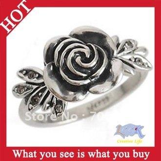 Free Shipping! 24pcs Fashion Silver Gold Diamond Jewellery Rings Rose Ring -- RA42 Wholesale