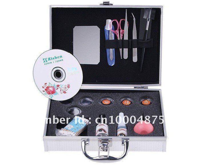 Freeshipping Hot Style False Eyelashes Eye Lash Extension Set Kit Case Gift Handmade Artificial Makeup Synthetic Eyelash &Glues