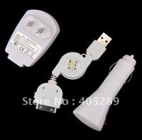 Free shipping**1set/3pcs** US/EU plug/AU plug Retractable USB CABLE+CAR+WALL CHARGER 3 in 1 Charger For iPHONE 4 3G/3GS IPOD