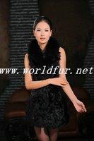 HK1180B Sheepskin and woolen Vest  for Women, with Fox fur collar
