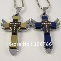 20pcs stainless steel necklace cross pendant angel wing pendant fahison necklace popular