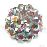 60pcs/lot, White Bling Bling AB Color Dense Rhinestone Acrylic Ball Beads Shamballa Beads Fit Shamballa Bracelet 14mm Dia 110020