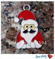 Free Shipping 100Pcs/Lots Zinc Alloy Enamel The Santa Claus Charms Pendants