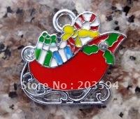 Free Shipping 100Pcs/Lots Zinc Alloy Enamel The sled Charms Pendants enamel charms 24x20mm