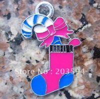 Free Shipping 100Pcs/Lots Zinc Alloy Enamel Christmas socks Charms Pendants enamel charms 25x17mm