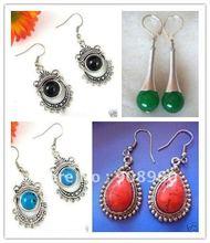 Wholesale fashion jewelry free shipping tibet silver jade earring 20pc/lot #013(China (Mainland))