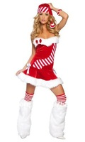 Wholesale!FREE SHIPPING!(10pieces) 100% Brand New Women's Sexy lingerie,Candy Cane Chiristmas Costume,LC7166