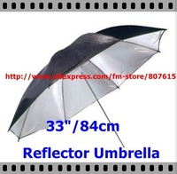 "Free shipping 33 ""84cm Studio Black / Silver Reflector Umbrella Professional photography umbrella CA2A"