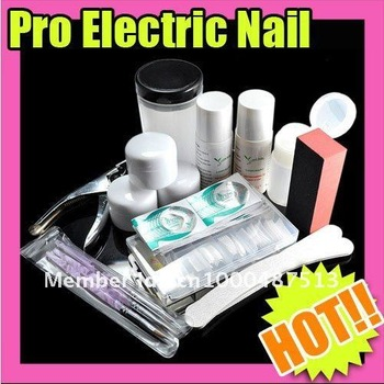 Free Shipping DIY Nail Art Professional Acrylic Nail Full Set UV Gel Kit Manicure For UV GEL Pen Glue File TopCoat Cleanser
