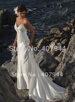 Hot sell New Arrival Beautifull White Satin Sweetheart Spaghetti Straps Floor Length Mermaid Beach Wedding Dresses Bridal Dress