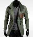 Mens jackets leather pocket designer high neck zippered slim fit jacket trench coat outerwear m-xxl green/coff