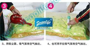 Free shipping!!! 10pcs/lot 70*100cm Vacuum compressed bag, Vacuum storage bag+a free Manual suction pump