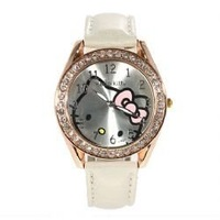 Exquisite Hello KT Design Leather Wristband Watch for gift