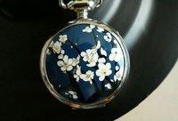 Mirror Pocket Flower Style Children Necklace Watch XMAS gift 40pcs/lot