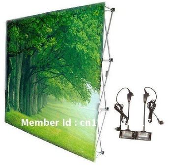 Pop up banner display,stand banner,2.3m*2.3m,with graphic, trolley bag,light,freeshipping DHL/DPEX to Australia/USA/Canada/Eur.