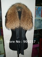 New Arrival Genuine Raccoon Fur  Collar Scarf   Natural color  Wholesale Retail OEM FS1110201150  Top Quality