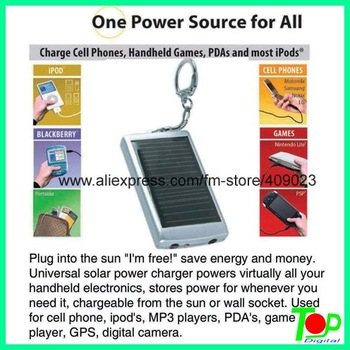 Mono crystalline solar phone charger with keyring in hot selling
