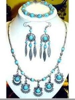 Wholesale SET tibet silver Turquoise necklace bracelet earring gift