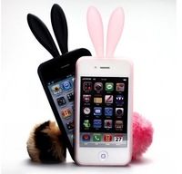Free Ship For Iphone4 case Silicon Cute Furry Bunny Rabito Cartoon Case for iphone 4 with Retail package 10pcs/lot