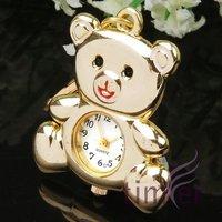 TRENDY GOLD BEAR KEY RING CHAIN PENDANT POCKET WATCH Xmas Gift 100pcs/lot