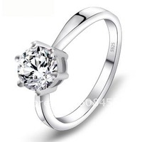 Swiss Diamond Ring,925 Sterling Silver Ring Bridal Jewelry,Platinum Plated 925 Silver Ring Marked S925  Lovers Gift