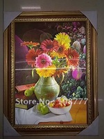 Free shipping/HD 3D stereoscopic paintings /Picture frame /have frame/size:25*35/PET-high definition 3D picture of flower