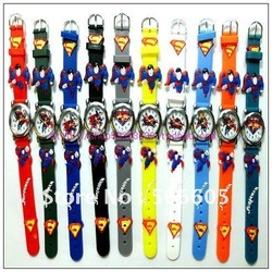 Free Shipping Wholesale Superman Watch,3D Cartoon Quartz 10pcs/set children 10colors can choose(China (Mainland))