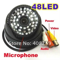"Free shipping 1/3"" Sony 420TVL Color CCD Dome 48 Leds IR Night Audio Security CCTV Camera Wide Angle Lens 3.6mm"