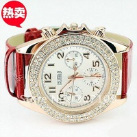 Hot fashion diamond jewelry watches three six-pin female form large dial red strap quartz watch ladies watches