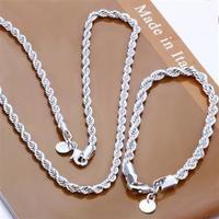 Free Shipping Wholesale Fashion men Rope chain necklace + Bracelet 4mm jewlery sets 925 silver Jewelry Set