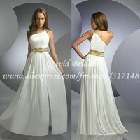 Best A Line One Shoulder Sash Chiffon Long White Prom Dress ED846