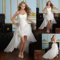 W1444 Wholesale Organza Long Back Short Front Cheaper Wedding Dress