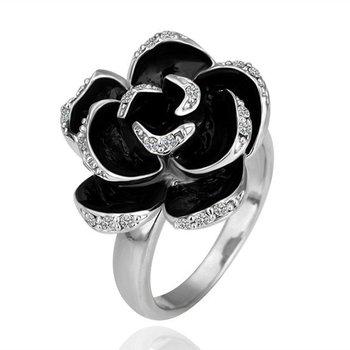 18KGP R090 BlackRose18K Platinum Plated Ring Jewelry Nickel Free K Golden PlatingPlatinumRhinestone Austrian Crystal  Element