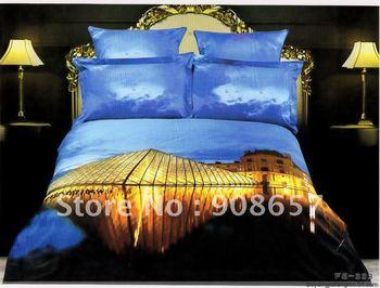100% Cotton Alternative Duvet Quilt Covers golden light house around the lake modern pattern Queen bed in a bag set 4pc bedlinen