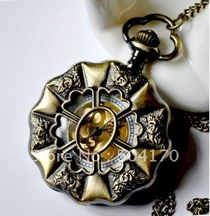 New Fashion Antique Bronze Pocket Watch Cabochon Charm pendant With 80cm Metal Chain PW032