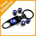 Cool Black Peugeot car logo tire valve caps 4pcs with wrench key chain(FD-CAP-Peugeot-B)(China (Mainland))