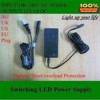 power adapter,(DHL)Wholesale EU/UK/US/AU Adapter,12V 3A Power Adapter,12V 3A power supply AC/DC 10pcs/lot