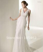 Free shipping 2011new style beautiful deep v-neck chiffon wedding dress/sleeveless sexy bridal dress