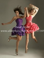 Best Ball Gown Strapless Ruffles Taffeta Mini Purple Red Cocktail Gowns Shops TLF623